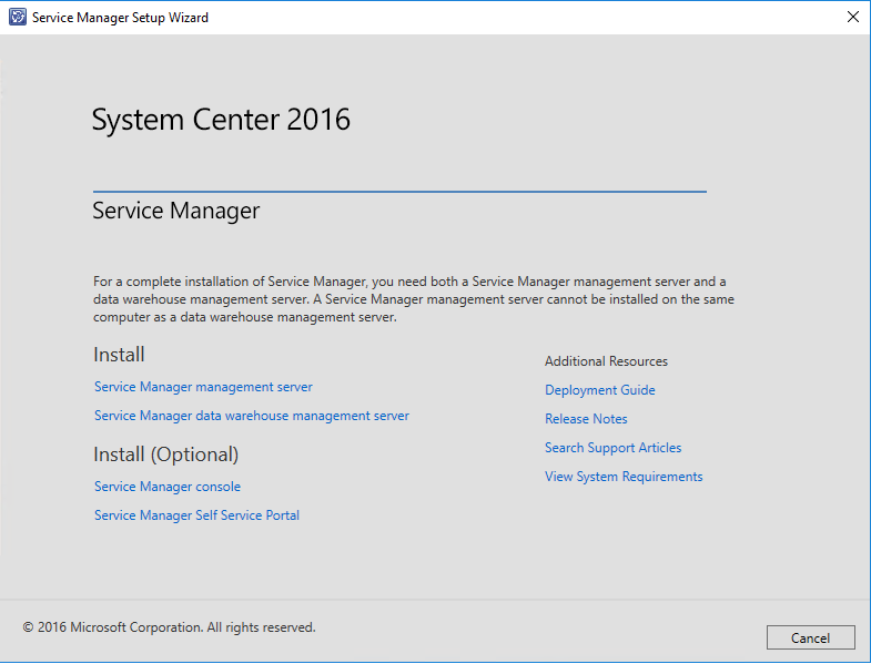 Service Manager - Start der Installation mit Service Manager Management Server
