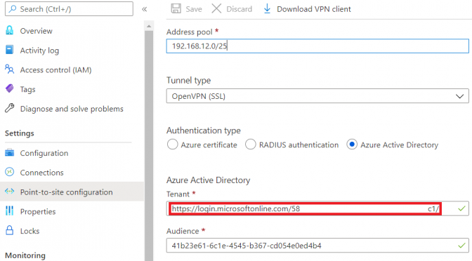 Azure VPN AAD P2S Error Server did not respond properly to vpn control packets resolved